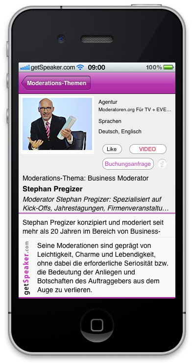 Business-Moderator Stephan Pregizer iPhone-App