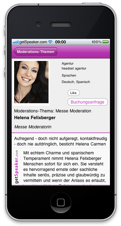 Event Moderatorin Helena Felixberger iPhone-App
