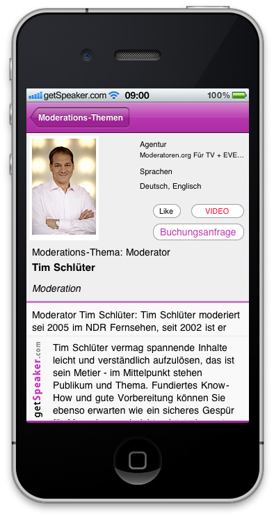 Moderator Tim Schlueter iPhone-App