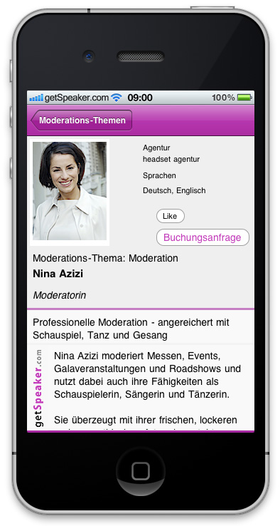 Moderatorin Nina Azizi iPhone-App