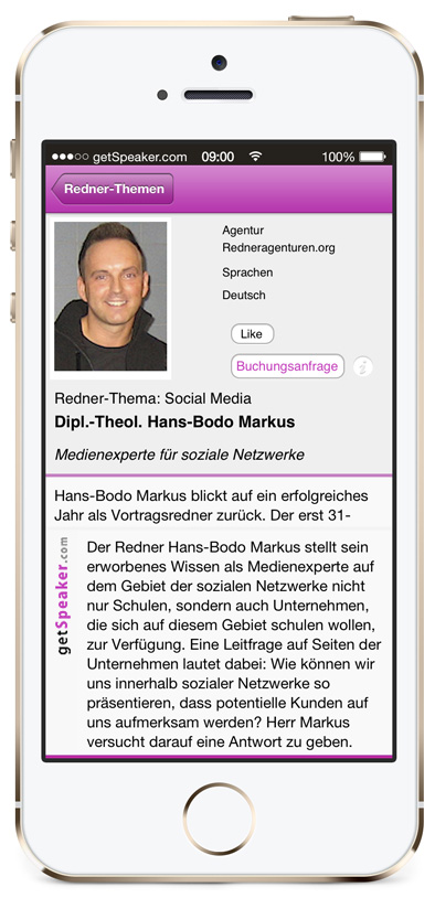 Referent Social Media Dipl.-Theol. Hans-Bodo Markus iPhone-App