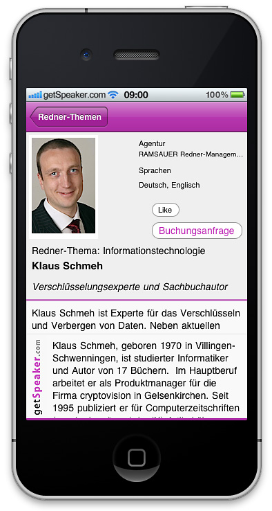 Referenten Informationstechnologie Klaus Schmeh iPhone-App
