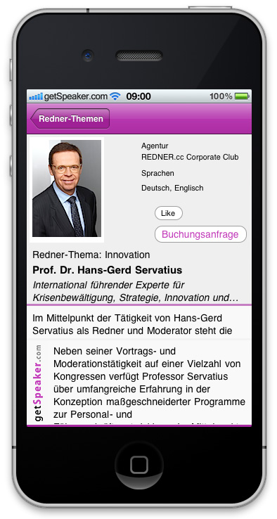 Referenten Innovation Prof. Dr. Hans-Gerd Servatius iPhone-App