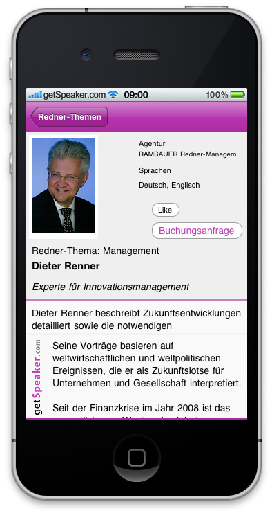 Referenten Management Dieter Renner iPhone-App
