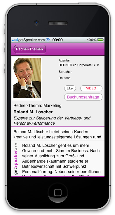 Referenten Marketing Roland M. Loescher iPhone-App