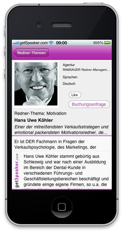 Referenten Motivation Hans Uwe Koehler iPhone-App