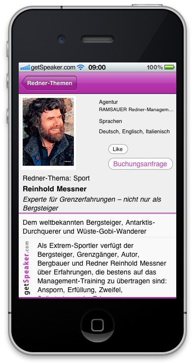 Referenten Sport Reinhold Messner iPhone-App