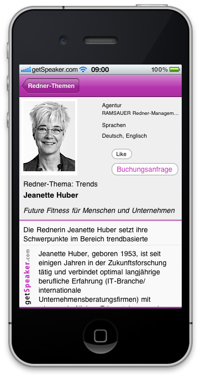 Referenten Trends Jeanette Huber iPhone-App