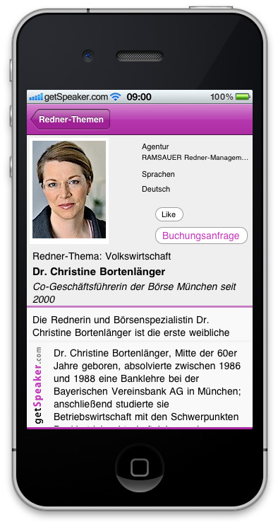 Referenten Volkswirtschaft Dr. Christine Bortenlaenger iPhone-App