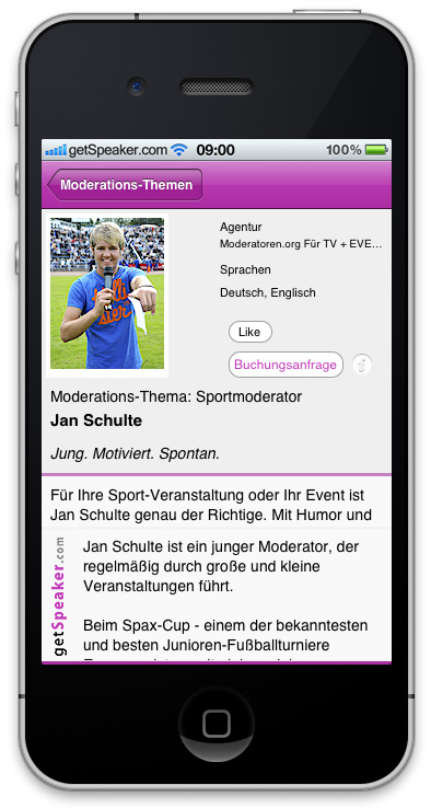 Sportmoderator Jan Schulte iPhone-App