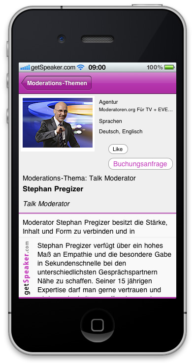Talk Moderator Stephan Pregizer iPhone-App